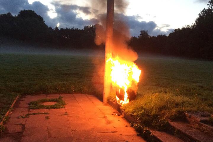 Der Stromkasten brannte komplett ab.