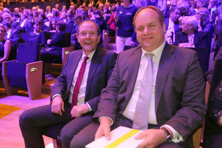 Markus Ulbig (l.) und Dirk Hilbert bei der Eröffnungsveranstaltung.