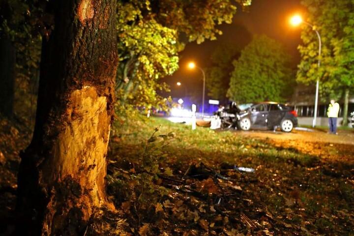 Der Ford krachte mit voller Wucht gegen einen Baum.