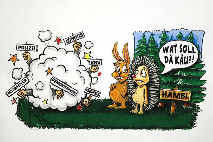 """Die Reproduktion einer Zeichnung des Kölner Karikaturisten Rollo zeigt den an das Märchen """"Der Hase und der Igel"""" angelehnten Entwurf für einen Motivwagen zum Thema Hambacher Forst."""