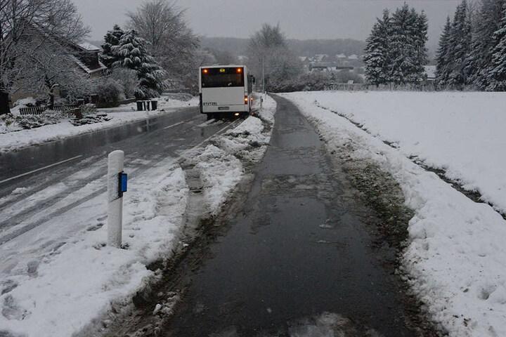 Der Fahrer konnte seinen Bus wieder auf die Straße bringen.