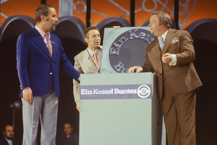 """Unvergessen: Die Kessel-Buntes-Moderatoren Manfred Uhlig (r.), Lutz Stückrath (M.) und Horst Köbbert als """"Die drei Dialektiker"""" im Jahre 1974."""