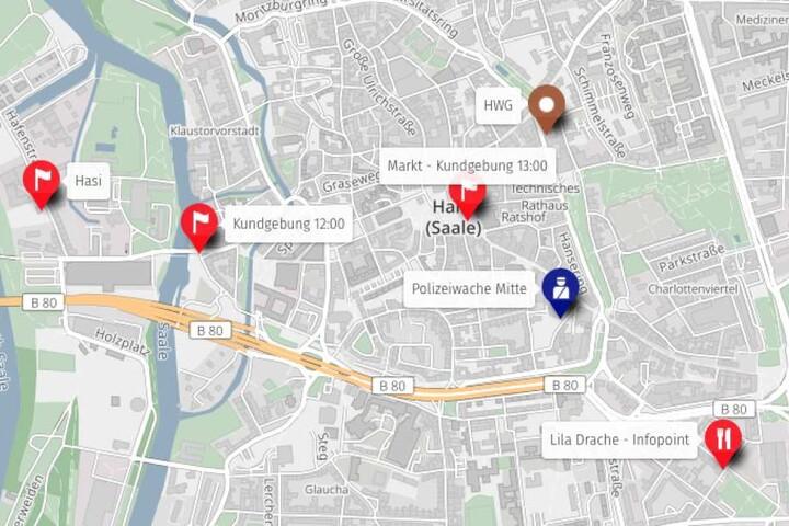 """Die Aktionskarte zu den Demonstrationen für den Erhalt der """"Hasi""""."""