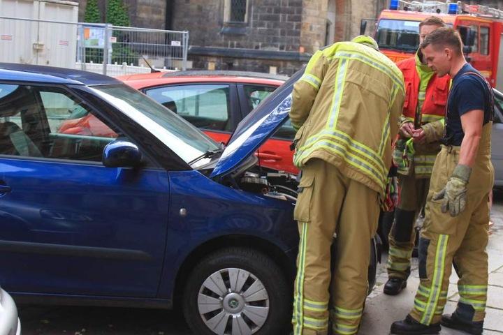 Im Motorraum des Skoda hatte sich eine Katze versteckt. Durch den Start des Wagens wurde die Mieze eingeklemmt.