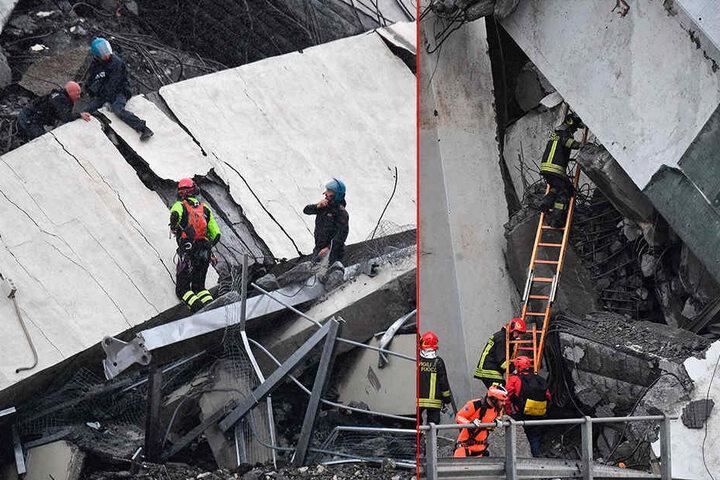 Nach dem Einsturz der Autobahnbrücke haben Rettungskräfte mindestens zwei Überlebende aus den Trümmern gezogen.