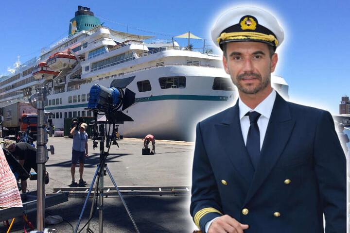 """Florian Silbereisen in seiner Rolle als Kapitän. Der 37 Jahre alte Showmaster und Schlagerstar stand hier zum ersten Mal als Kapitän Parger, der auf dem ZDF-""""Traumschiff"""" das Kommando führt, vor der Kamera. (Bildmontage)"""