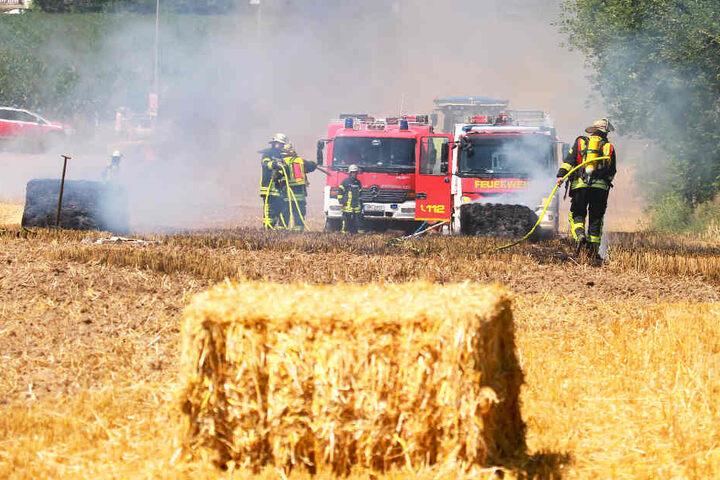 Die Feuerwehr musste im Anschluss das brennende Stoppelfeld löschen.