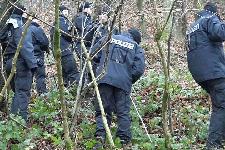 Zahlreiche Polizisten durchsuchten ein Waldstück bei Aschaffenburg.