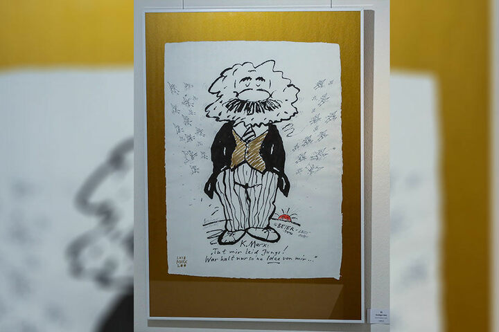 Schalkhaft: der berühmte Karl Marx von Roland Beier - Leos verrückte Vögel fliegen weg von ihm. Wie Ideen in alle Welt?