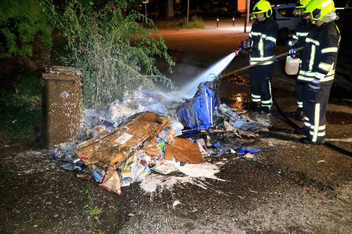 In der Carl-von-Ossietzky-Straße stand ein Müllcontainer in Flammen.