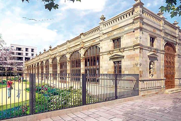 Die bisherigen Pläne für den Wiederaufbau der Orangerie An der Herzogin Garten. Im Vergleich zum Original wird der Bau kürzer. Links der künftige Park.
