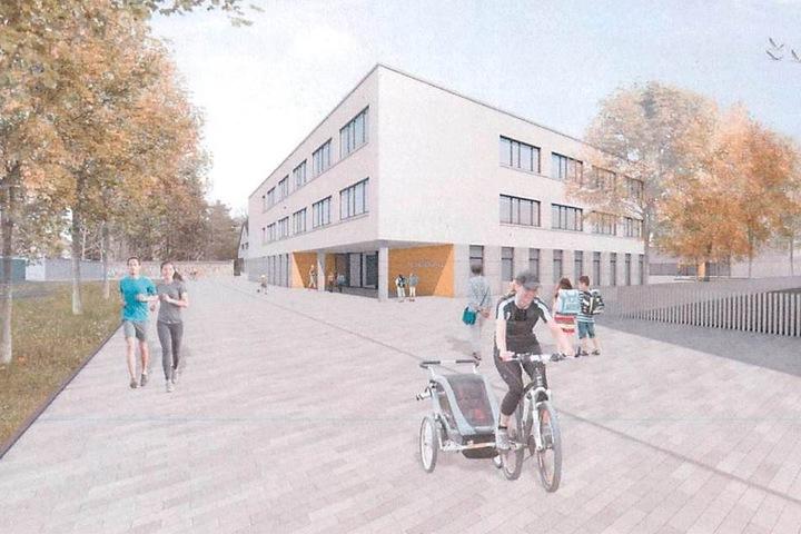 Um die geplante Fassade der 148. Grundschule in der Dresdner Neustadt gab es  Streit. Jetzt wird sie angepasst.