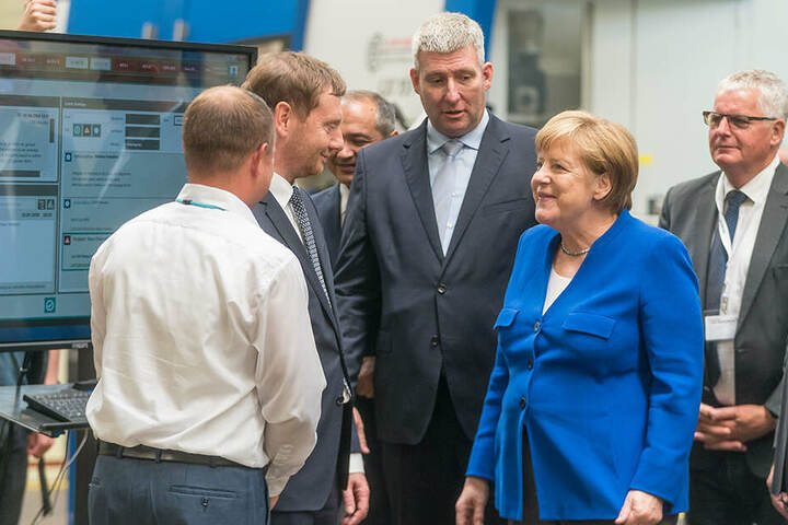 Angela Merkel und Michael Kretschmer im Siemens-Turbinenwerk in Görlitz.