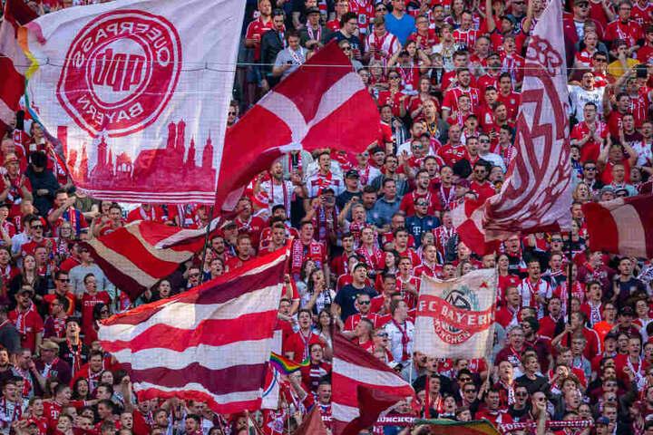 Die Fans vom FC Bayern München schwingen Fahnen.