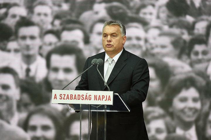Der ungarische Ministerpräsident Viktor Orban spricht am 23. Oktober 2017 in Budapest bei einem Festaktes zum Nationalfeiertag.