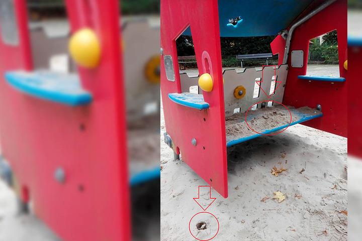 Auf einem der beiden Spielplätze wurden Scherben in Spielhäusern versteckt.