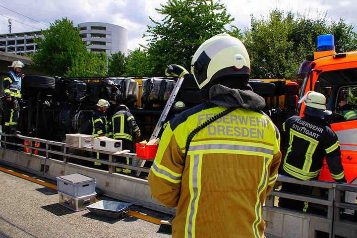 Dem Zufall sei Dank: Kameraden der Feuerwehr aus Dresden waren ebenfalls vor Ort.