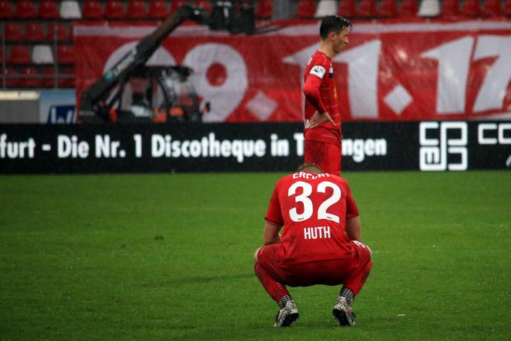 Nach dem Spiel herrschte sichtliche Enttäuschung bei den Erfurtern.