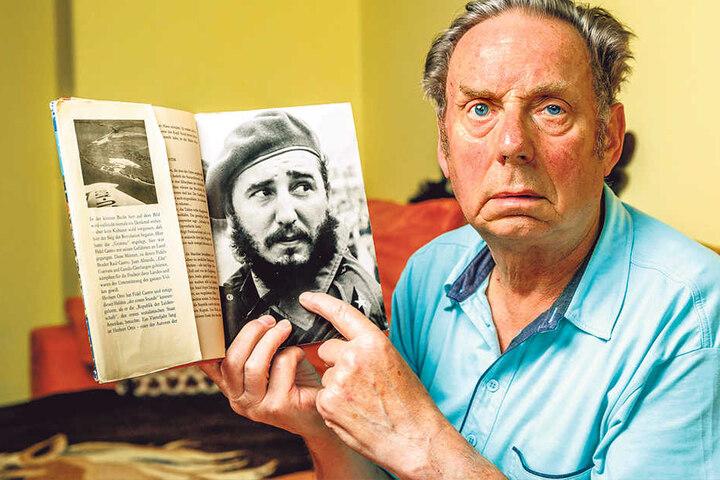 Günter Mannhaupt (77) hat das Buch mit Fidels Unterschrift wiedergefunden, das seine Mutter Lotte 1972 ergatterte.