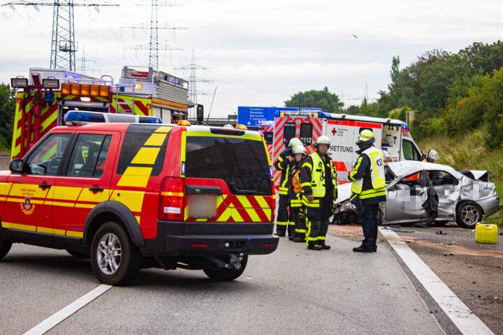 Feuerwehrleute entdeckten den Hundewelpen unter dem Unfallwagen kauernd. #Frankfurt