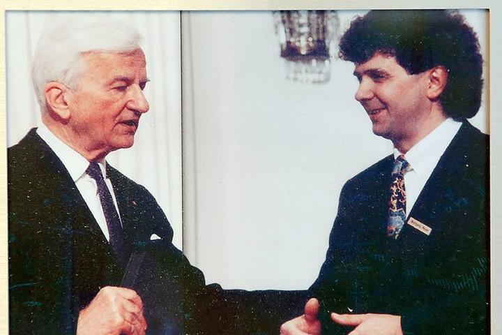 """1994 traf Meyer mit Bundespräsident Richard von Weizsäcker die damalige """"Nummer 1"""" der Bundesrepublik Deutschland."""