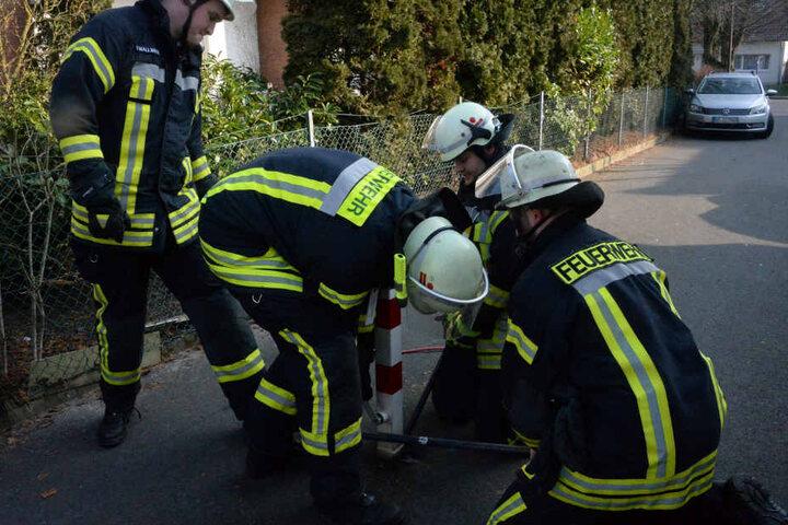 Ein Pfosten musste von der Feuerwehr entfernt werden.