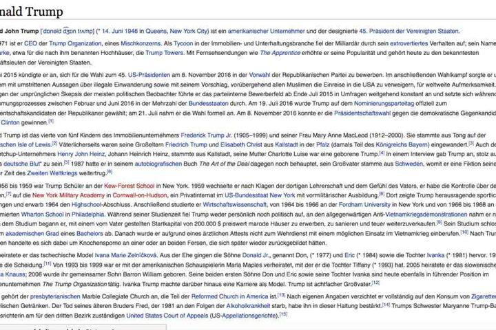 Bei Wikipedia wird er schon als 45. Präsident der Vereinigten Staaten geführt.