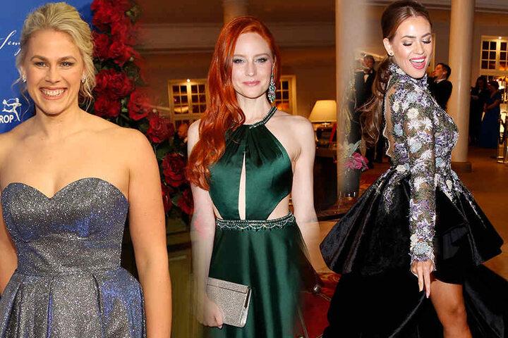 Barbara Meier (Mitte) in einem grünen Kleid von Mandel Fashion. Ihre Ohrringe sind von Chopard und über 200.000 Euro wert.