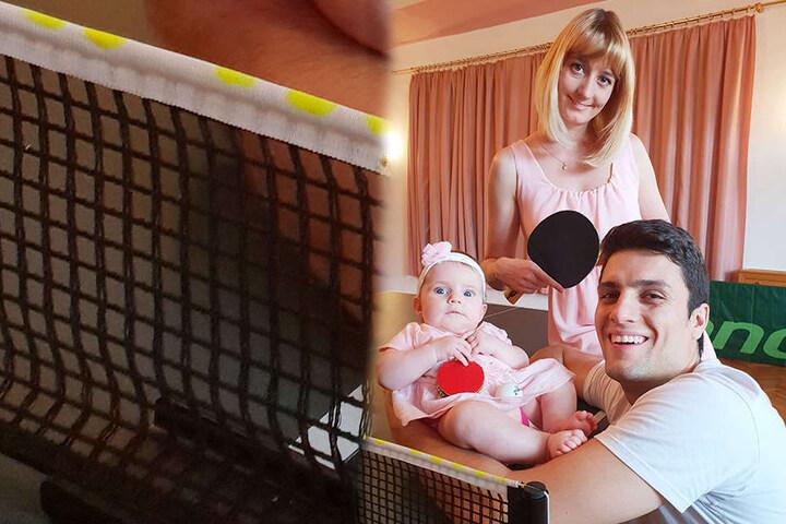 Während die Eltern strahlen, schaut Töchterchen Emilia, als käme ein Schmetterball geflogen. Wetten, dass sie das Spiel bald lieben lernt?