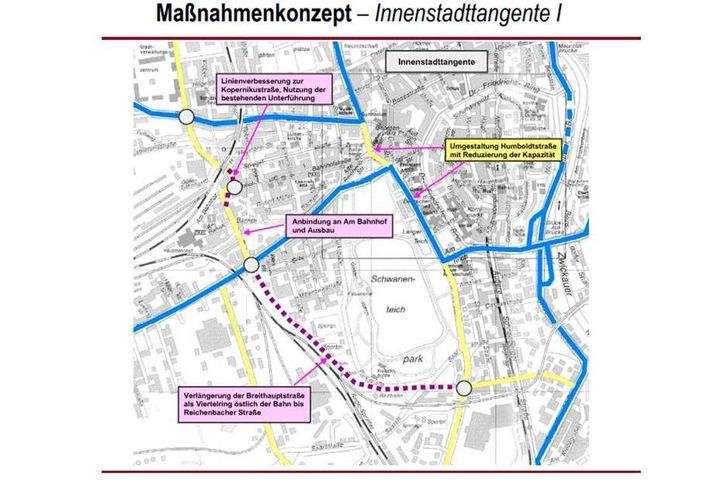 Zwickaus City soll durch den Bau einer westlichen Innenstadt-Tangente vor allem vom  Schwerlastverkehr befreit werden.