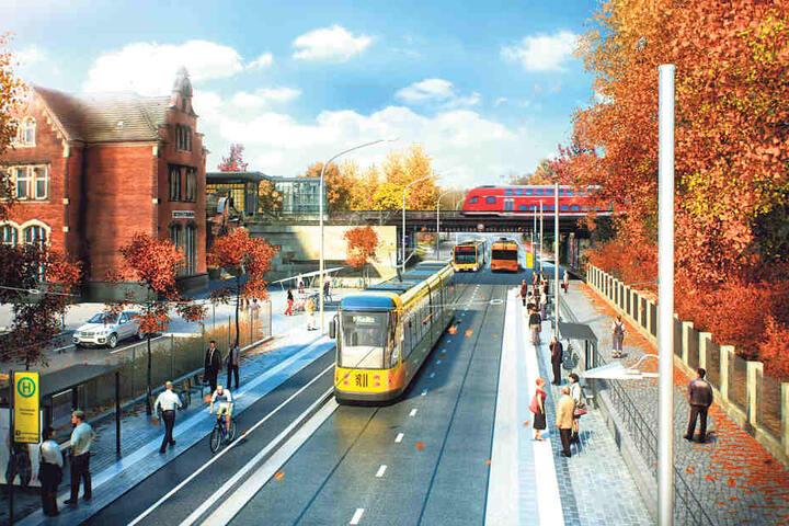 So stellen sich die DVB die Stadtbahn 2020 am Haltepunkt Strehlen vor. Ein  Baustopp durchkreuzt die Pläne allerdings.