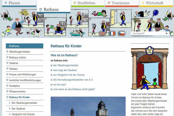 Kindgerecht wird auf der Webseite der Stadt Plauen das Rathaus erklärt.