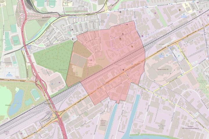 Der rot markierte Bereich muss evakuiert werden.