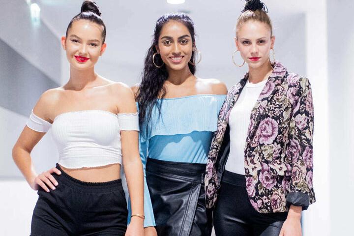 """Cäcilia, Sayana und Simone (l-r) werden am Donnerstag in Düsseldorf antreten, um """"Germany's Topmodel"""" 2019 zu werden."""