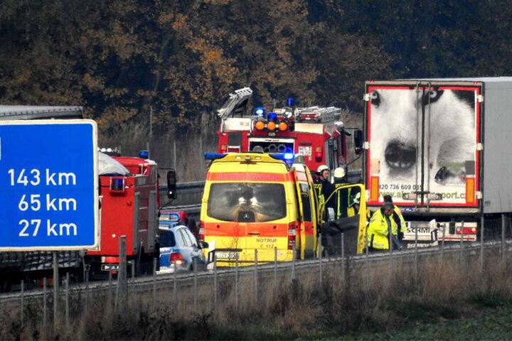Derzeit ist die A14 bei Naunhof in Richtung Magdeburg noch gesperrt.