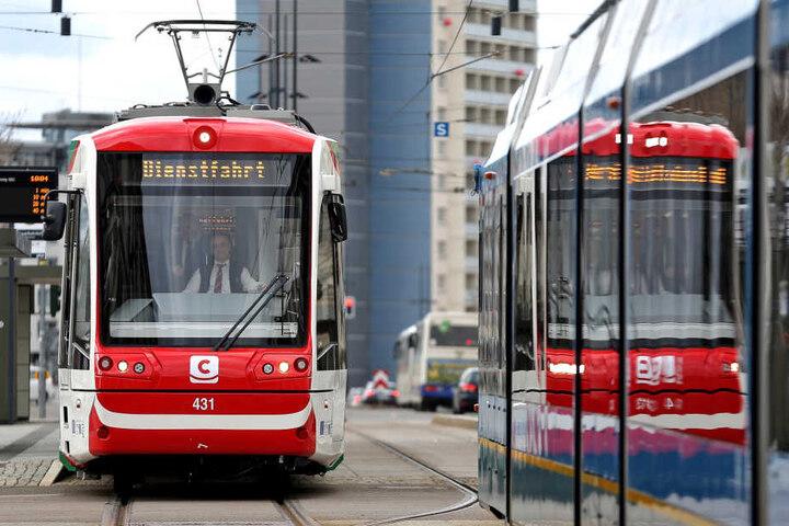 Die Trams des Chemnitzer Modells sollen künftig über die Leipziger Straße Richtung Norden fahren.