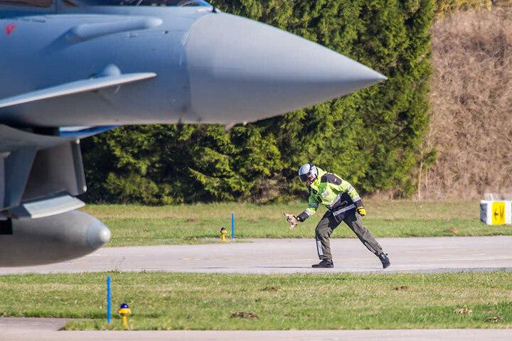 Gefangen! Ein Flugzeugwart hat den Frischling eingefangen. Das Tier wurde später dem zuständigen Jäger übergeben.