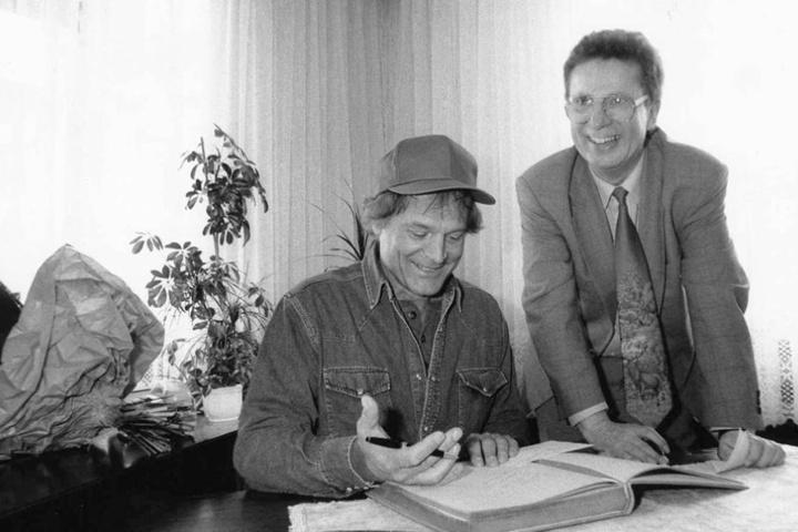 Das war ein großer Tag für Lommatzsch! Terence Hill war 1995 zu Gast  beim damaligem Bürgermeister Klaus Dieter Hirsch.