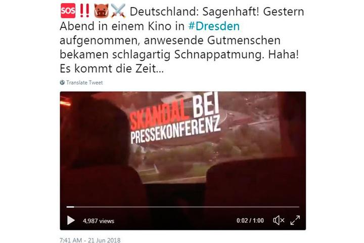 Dieses verwackelte Handyvideo, angeblich aus einem Dresdner Kino, ging auf rechten Hetz-Accounts viral.
