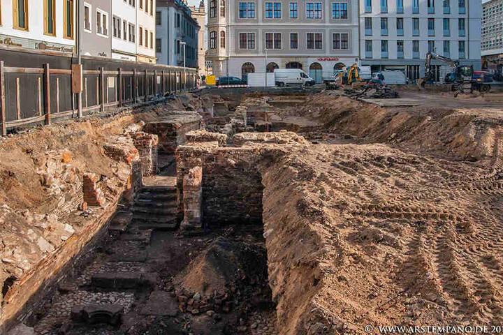 Der Keller des Fürstlichen Hauses kurz nach der Ausgrabung 2016.