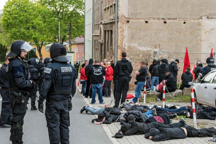 103 Demonstranten wurden bei der Auseinandersetzung in Apolda verhaftet.