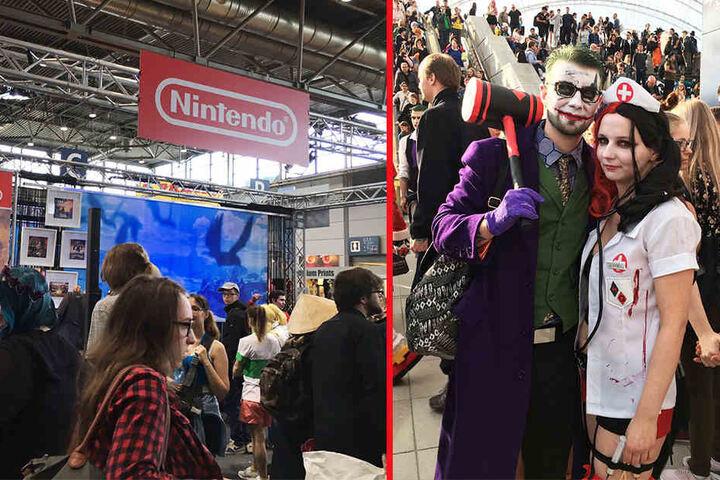 """links: Andrang am """"Nintendo""""-Stand. rechts: Besucher verkleidet als """"Joker"""" und """"Harley Quinn"""""""