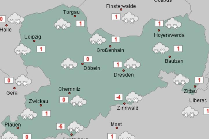 Die Aussichten für Mittwoch: Zur Wochenmitte wird in ganz Sachsen mit Schnee gerechnet.