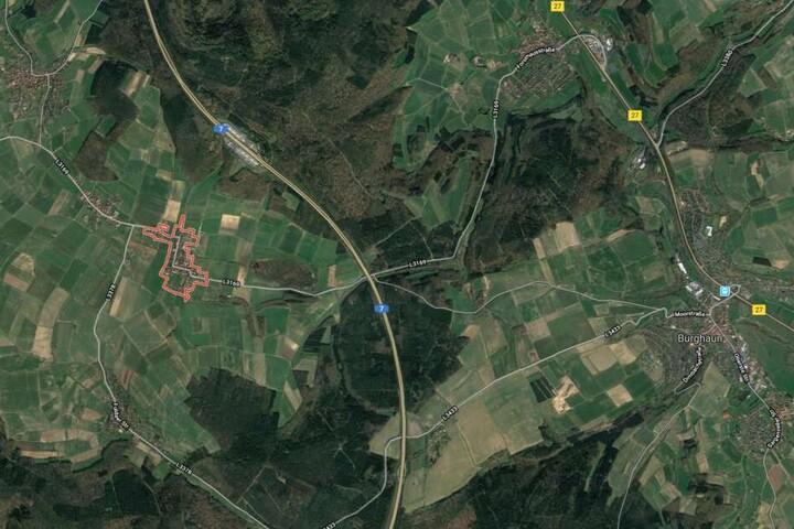 Großenmoor liegt westlich (rot markiert) von Burghaun.