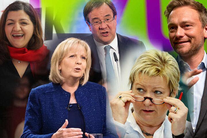 Die Spitzenkandidaten für die Landtagswahlen in NRW: Özlem Alev Demirel (Linke), Hannelore Kraft (SPD), Armin Laschet (CDU), Sylvia Löhrmann (Grüne), Christian Lindner (FDP).