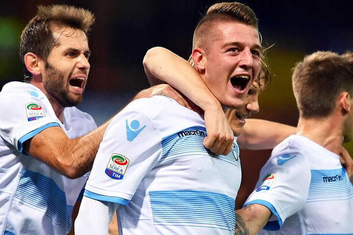 Spielintelligenter Mittelfeldakteur: Die Kreise von Sergej Milinkovic-Savic (M., im Trikot von Lazio Rom) müssen von Toni Kroos und Joshua Kimmich eingeschränkt werden, wenn Deutschland erfolgreich sein will.