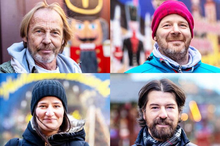 Bernd Ebert (o.l.), Ronny Hofmann (o.r.), Julia Kasat (u.l.) und Torsten Buschmann (u.r.) haben verschiedene Meinungen zu den Öffnungszeiten.