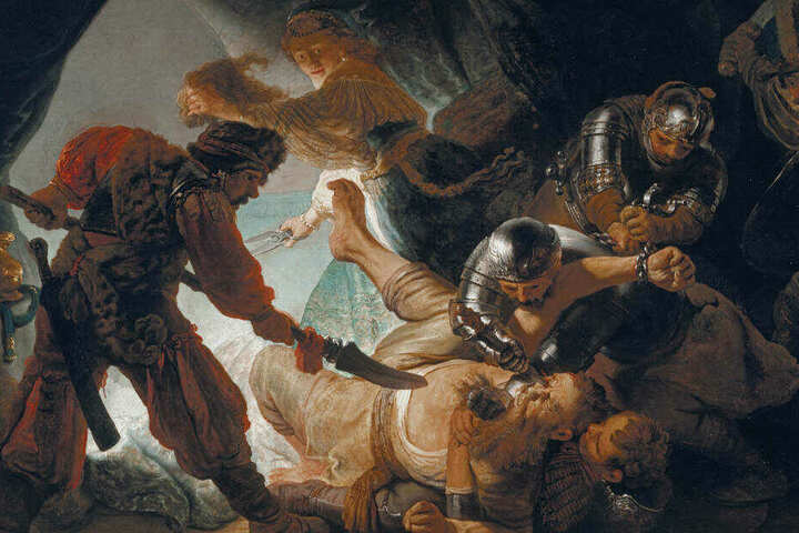 """Das Gemälde """"Die Blendung Simsons"""" (1636) von Rembrandt Harmensz van Rijn."""