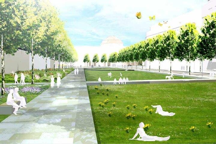 Im Bild noch eine Visualisierung, ist der erste Neubau-Abschnitt des Ringes mittlerweile bald fertig.