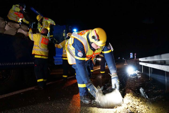 Die Autobahn A8 nahe Gruibingen: In der Nacht auf Montag kam es dort zu Überschwemmungen.